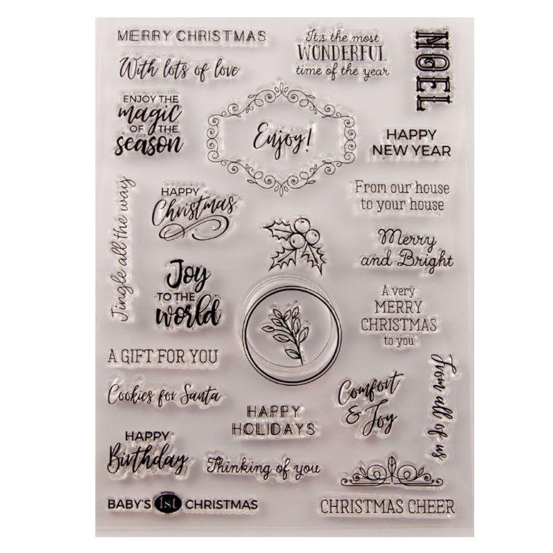 Joyeux anniversaire noël Silicone clair sceau timbre bricolage Scrapbooking gaufrage Album Photo décoratif papier carte artisanat Art Handma