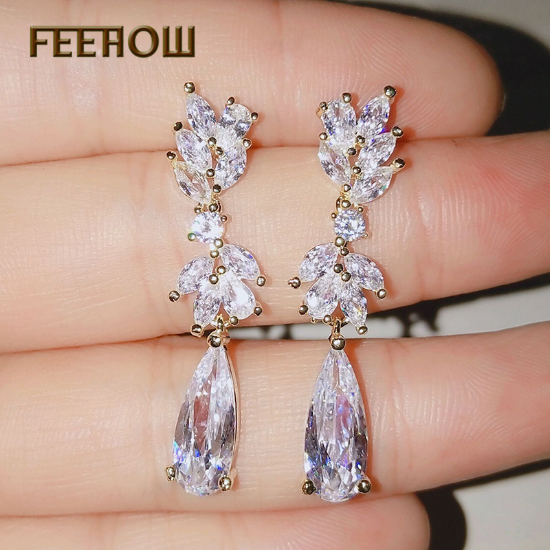 FEEHOW Nieuwe Collectie Luxe Merk Rose Goud Kleur Oorbellen AAA Zirkoon Hoge Kwaliteit Dangle Earring Voor Vrouwen Gift FWEP050