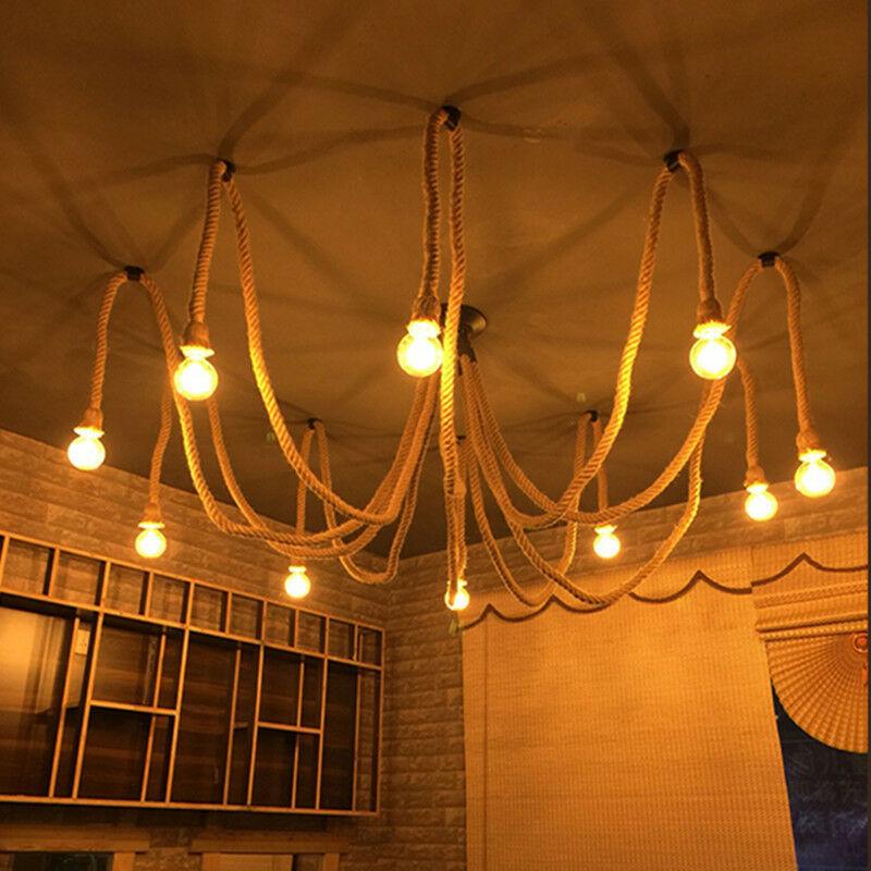 E27 Industrial Pendant Lamp Retro Vintage Edison Hemp Rope Ceiling Light