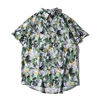 цена на Tropical Plants Holiday Print Floral Aloha Shirt for Men Button Up Men's Short Sleeve Hawaiian Floral Shirt Plus Size