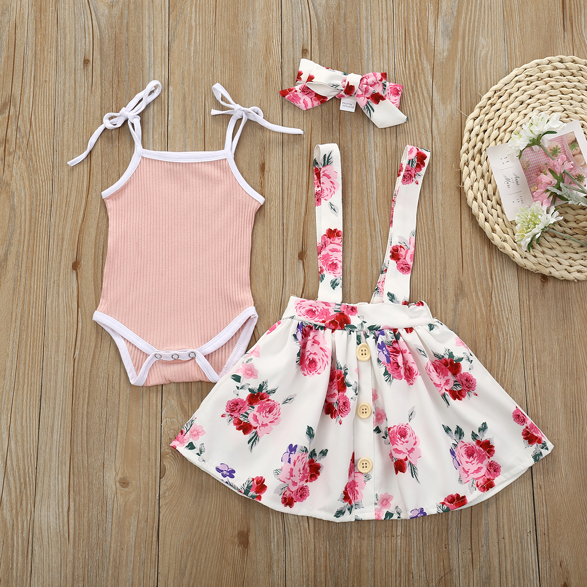 Newborn Infant Kids Baby Girl Clothes Romper Bodysuit Floral Strap Skirt Outfits