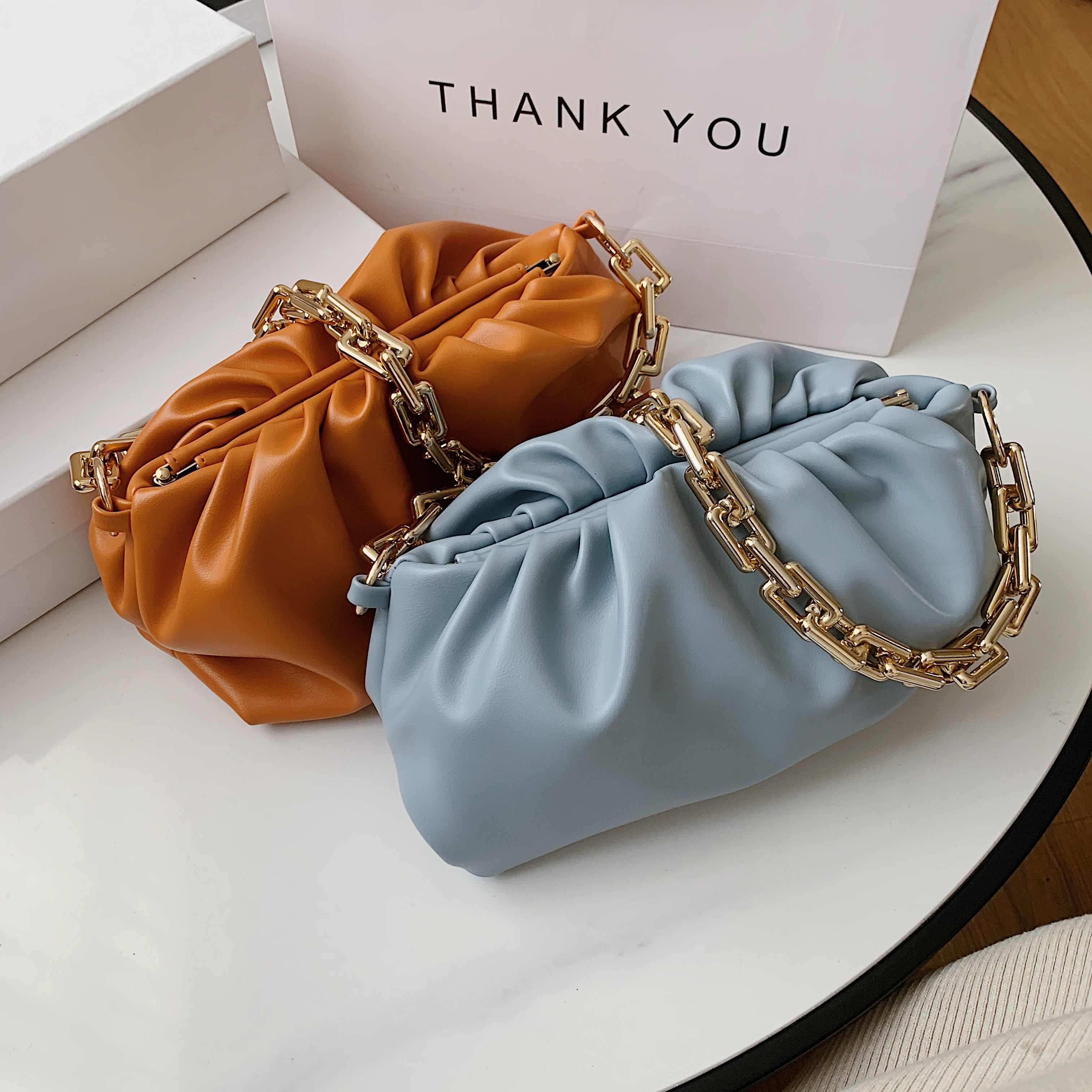Gold Kette PU Leder Tasche Für Frauen 2020 Sommer Achselhöhle tasche Dame Schulter Handtaschen Weibliche Einfarbig Reise Hand Tasche