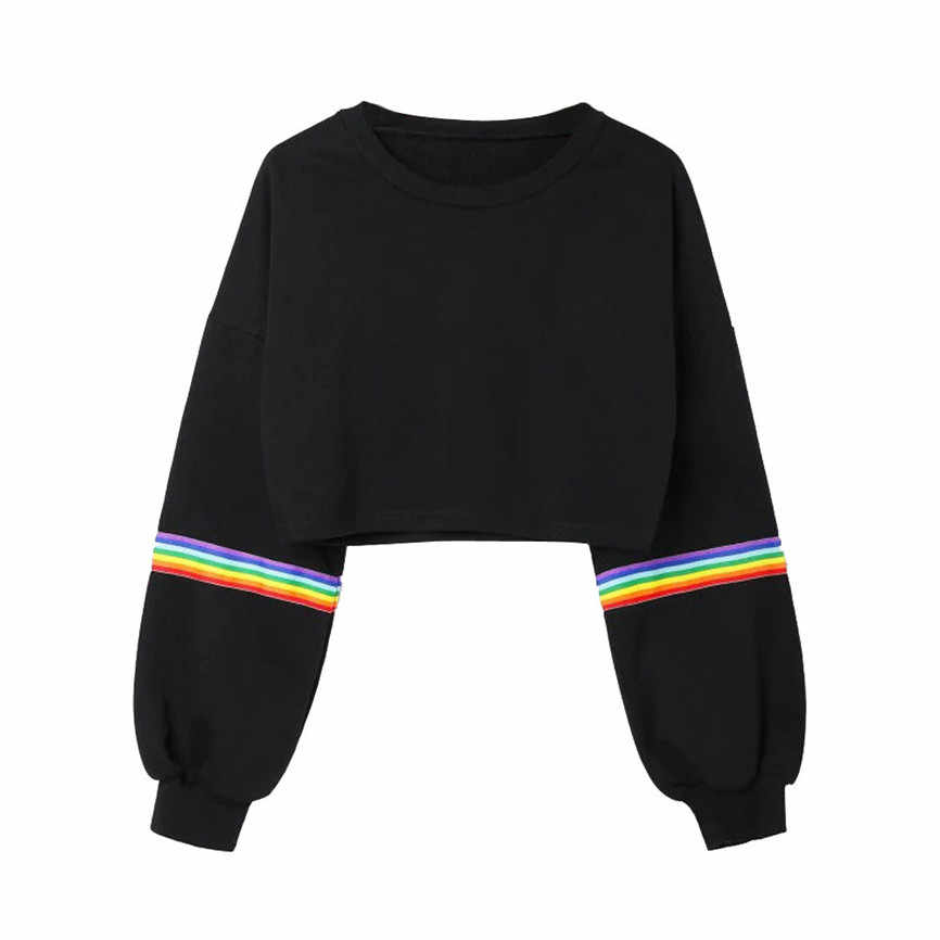 Womens Long Sleeve Striped Crop 레인보우 줄무늬 짧은 스웨터 점퍼 Black Pullover Top Sudadera Womens 스웨터 풀오버