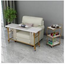 Single-layer movable nail table matching nail sofa single marble solid wood nail table Japanese nail art is simple