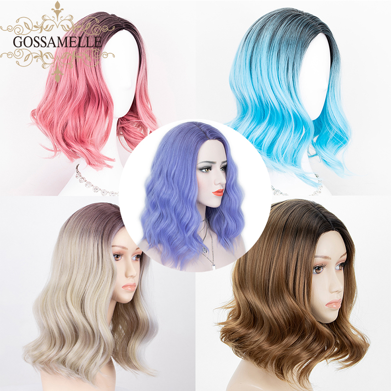 Gossamelle Ombre Blue Pink Brown Synthetic Wigs For Women Highlight Blonde Short Bob Wigs Mixed Black Cosplay Wig Heat Resistant