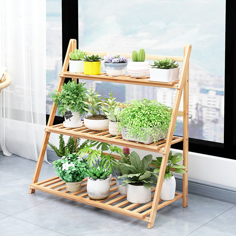 Fold Flower Airs Multi-storey Indoor Balcony A Living Room Solid Wood Meaty Assemble Flowerpot Frame Simplicity Shelf