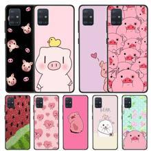 Cute PINK Kawai Pig Case for Samsung Galaxy A51 A71 A91 A01 A11 A31 A41 M51 M21 M31 M11 M40 M30 Black TPU Phone Coque waves ocean water case for samsung galaxy a51 a71 m31 a41 a31 a11 a01 m51 m21 m11 m40 black soft phone cover fundas