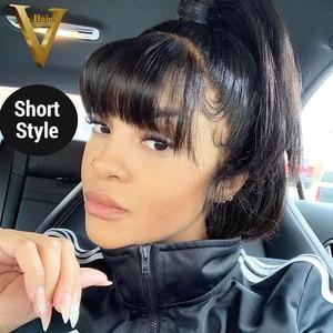 Image 3 - 13х4 прямые парики из натуральных волос на кружеве с челкой, предварительно выщипанные бразильские человеческие волосы Remy с бахромой 8 24 для женщин 180%