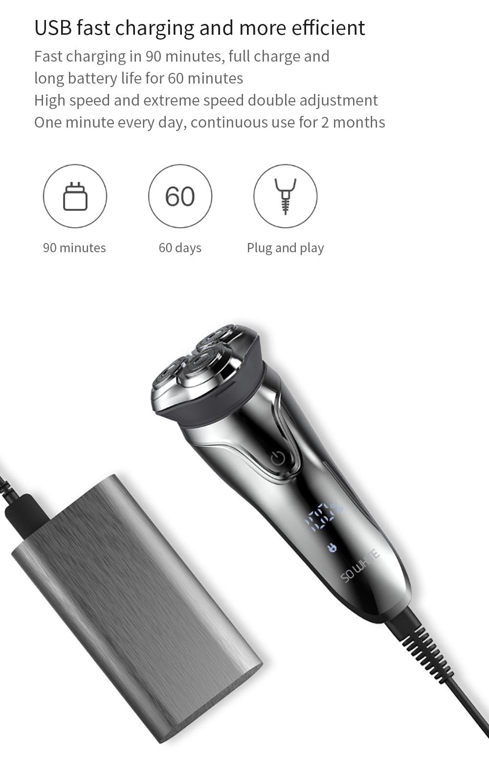 XIAOMI Mijia Soocas SO WHITE беспроводной 3D умный контроль usb зарядка электрическая бритва блокирующая защита IPX7 водонепроницаемый