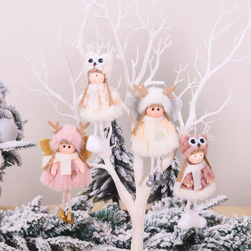 cute pink Plush Angel girl Christmas Tree Ornament Xmas Hanging Pendant Dolls Christmas Home Holiday Decoration as Kids Gifts