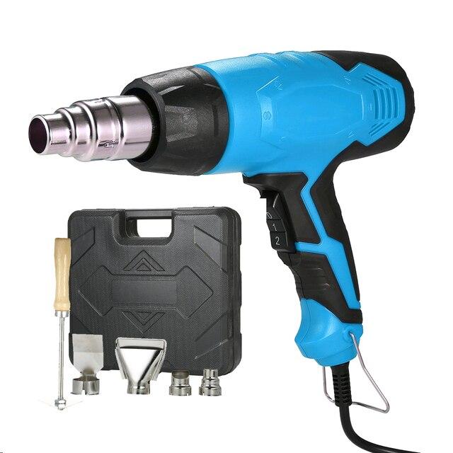 2000 واط 220 فولت الاتحاد الأوروبي الكهربائية الساخن مسدس هواء التحكم في درجة الحرارة بناء مجفف الشعر الحرارة البنادق لحام مع 4 فوهات أدوات كهربائية