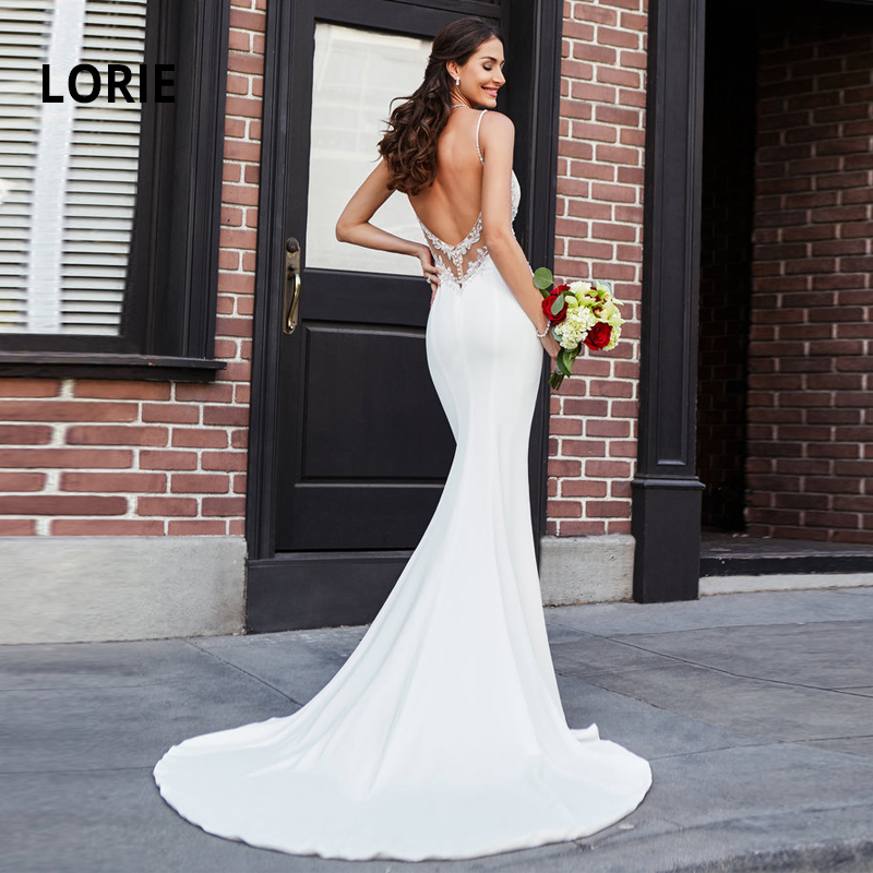 LORIE  Mermaid Wedding Dresses Lace Appliques With Beading Bride Dress Sexy Backless Wedding Gowns Soft Satin Wedding Dress
