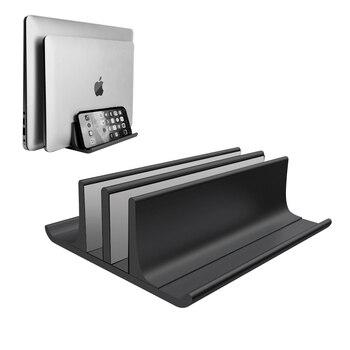 Soporte de Metal ajustable Vertical para ordenador portátil con 2 ranuras de aluminio para escritorio soporte doble de hasta 17,3 pulgadas para MacBook iPad Surface Pro