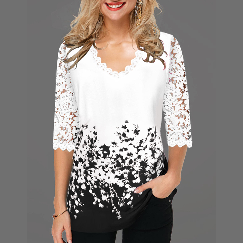 Women V Neck T Shirt Half Sleeve Tops 2020 Plus Size Spring Print Floral Pullover Hollow Out Lace Female Casual T Shirt