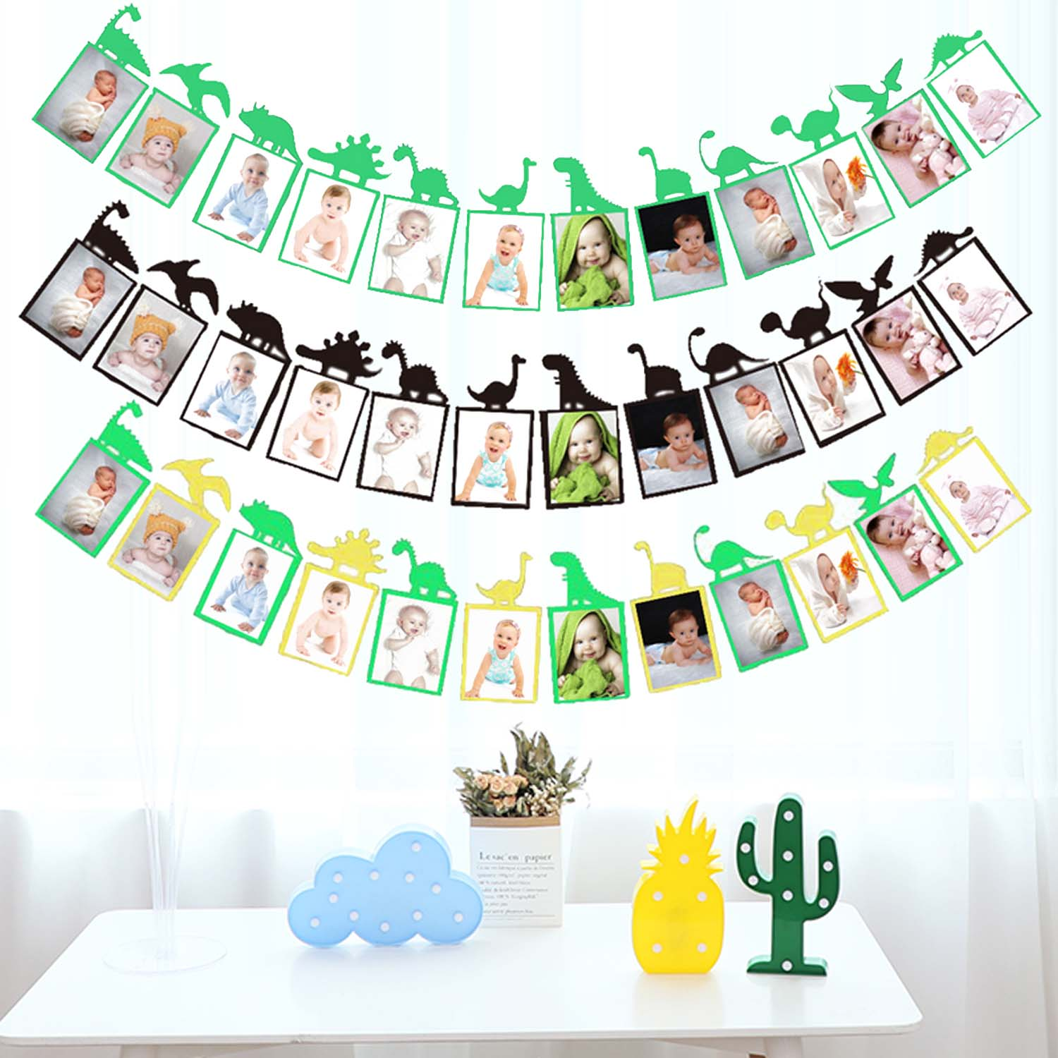 Baby Photo Banner Dinosaur Theme Baby First Year Birthday Banner 1-12 Month Photo Booth Garland Monthly Milestone Photo Banner