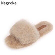 2019 Women Furry Slippers Ladies Cute Plush Rabbit Hair Fluffy Sandals Womens Fur Winter Warm for
