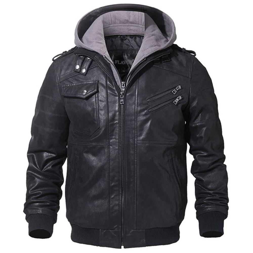 Хит продаж, мужская куртка из натуральной кожи, Мужская мотоциклетная зимняя куртка со съемным капюшоном, мужские теплые куртки из натуральной кожи, XS 3XL - 2