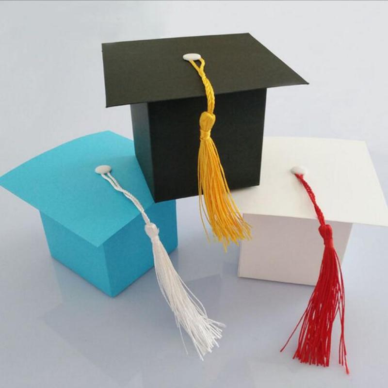 HOT 25Pcs DIY Paper Graduation Cap Shaped Gift Box Sugar Chocolate Box For Graduation Party Favor Cap Bachelor Hat Wedding Candy