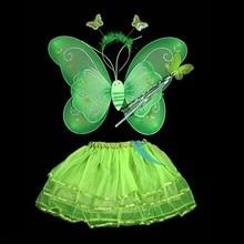 Модная юбка-пачка с крыльями бабочки и повязкой на голову; карнавальный костюм феи для девочек; Детские вечерние платья