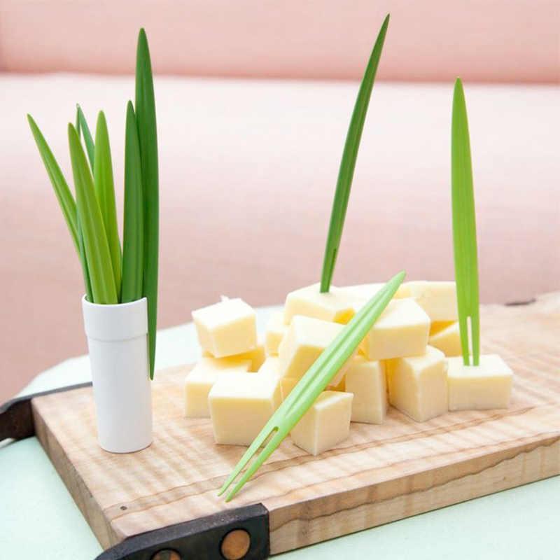 10 Buah/Set Bambu Daun Buah Garpu Kreatif Tongkat Prasmanan Ekor Forks Pernikahan Festival Dekorasi Ulang Tahun Dapur Gadget
