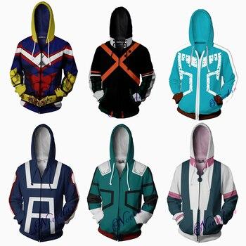 3D Printed My Hero Academia Hoodie Men Women Anime Boku No All Might Cosplay Costume Sweatshirt School Uniform