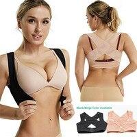 Women Adjustable Shoulder Back Brace Support Belt Vest Bra Posture Corrector 2