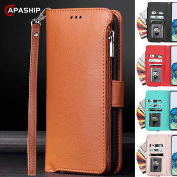 Luxury Zipper Leather Flip Case For Samsung Galaxy Note 8 9 10 lite S8 S9 S10 S20 Plus A51 A71 Microfiber Wallet Card Slot Cover