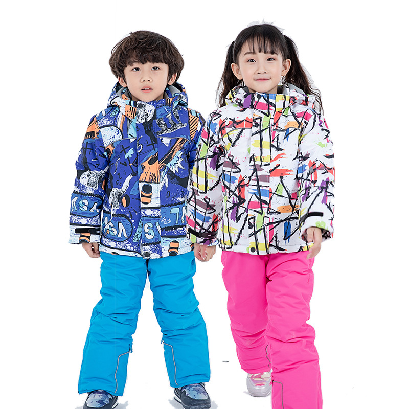Kids Ski Suit Children Waterproof Warm Fleece Girls And Boy Snow Jacket And Pants Winter Skiing And Snowboarding Clothes Child