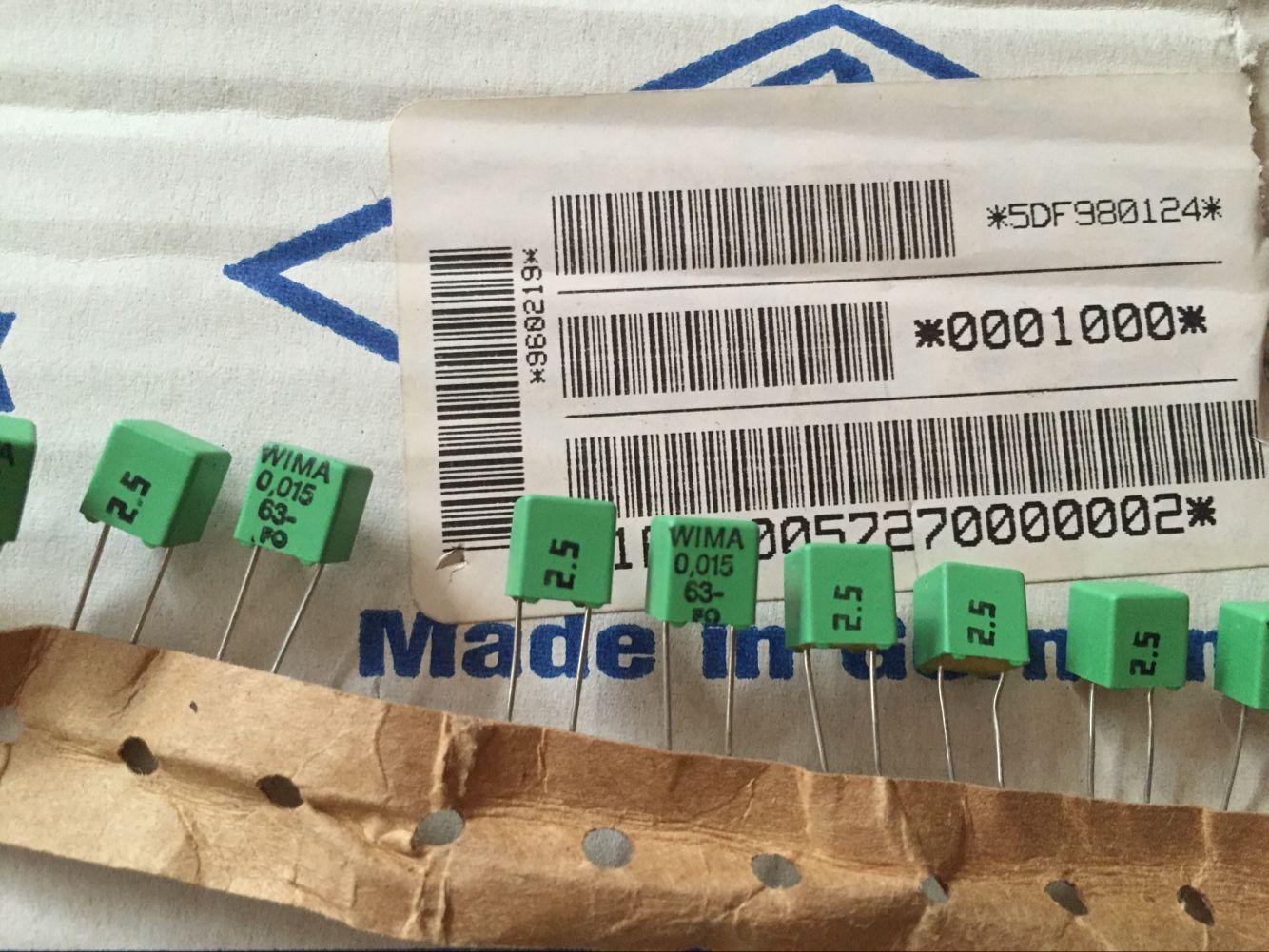 30pcs WIMA FKP-2 0.015UF/63V (15nF 153) Green Polypropylene Hay Film P=5 Free Shipping