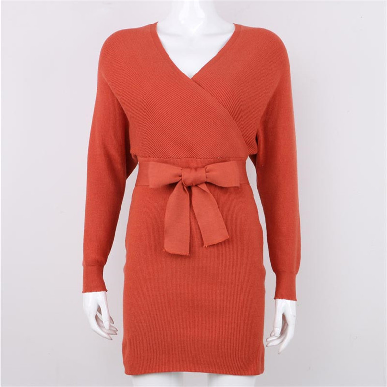 Long Sleeve Sashes Tied Knitted Wrap Sweater Dress 9