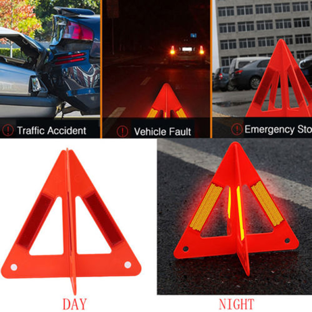 Emergency Car Auto Reflective Traffic Warning Sign Triangle Foldable Standing Tripod Road Reflective Traffic Warning Triangle