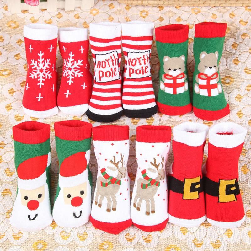 Christmas Baby Girls Boys Cotton Winter Autumn Warm Socks Children Striped Terry Snowflake Elk Santa Claus Bear Socks