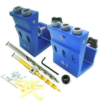 Woodworking Guide Clamp Locator Set 9mm Oblique Hole Drill Locator Wood Assembled Punchers Hole Punching Fixtures Tools