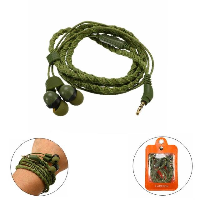 Moda 3.5mm cuffia con filo auricolare intrecciato cuffia con microfono auricolare sportivo verde militare portatile per smartphone