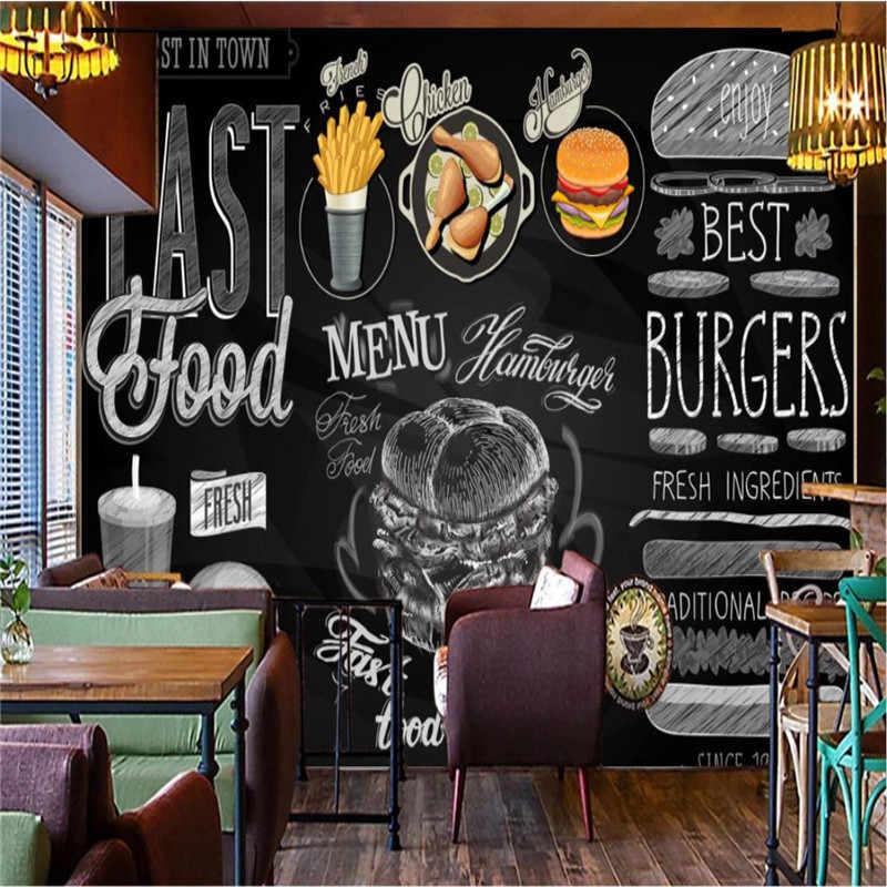 Papel pintado a mano en 3D para pared de restaurante, hamburguesas modernas, papel pintado a mano, Western Fast Food, Fondo para pared, papel pintado en 3D