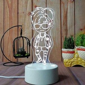 Image 2 - 3D USB Acrylic Night Lights Desktop Baubles LED Light Lamps Table Desk Globe Bedroom Office Decor Gift Warm White Lamp Ornament