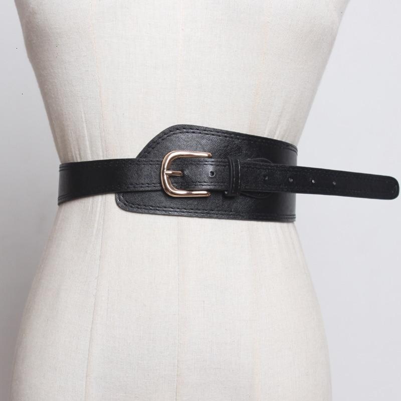 WKOUD EAM 2020 New Design Spring Trendy Fashion Belt For Women Leather Wide Waistband Female Casual Classical Cummerbunds ZK001
