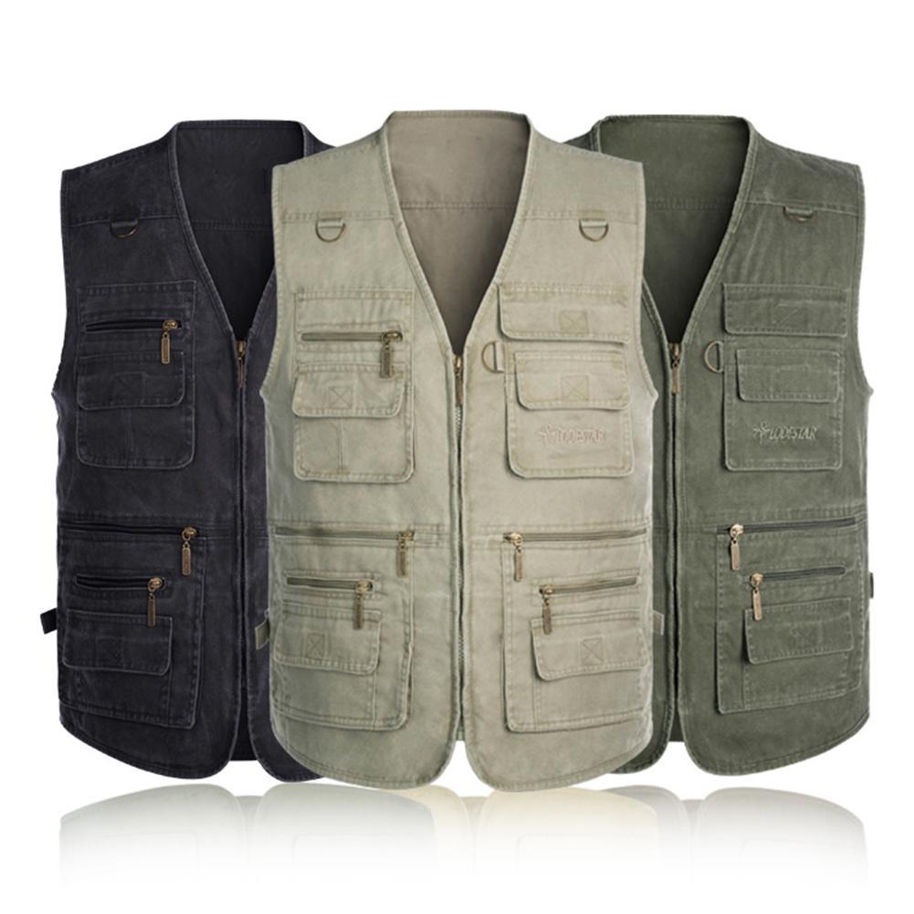 Men Cotton Multi Sleeveless Pocket Waistcoat Plus Size Outdoor Shooting Fishing Hiking Vest Jacket Male Clothing
