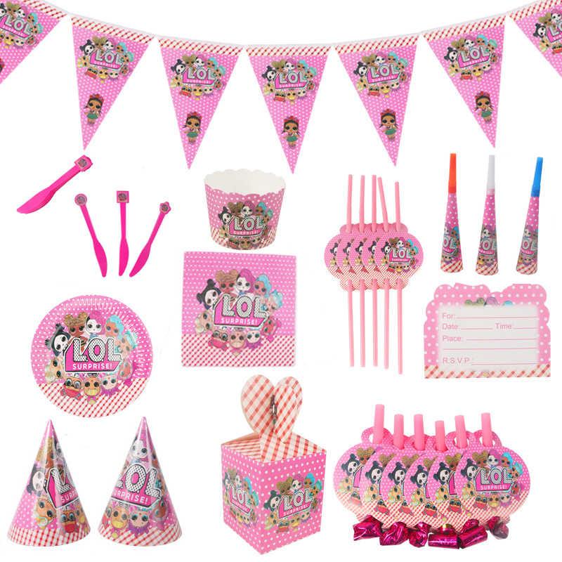 Оригинальный подарок на день рождения, куклы LOL, сюрприз, сделай сам, розовая тема, топпер для торта, тарелка, вилка, мультяшная кукла lols, игрушка, Рождественское украшение, подарок
