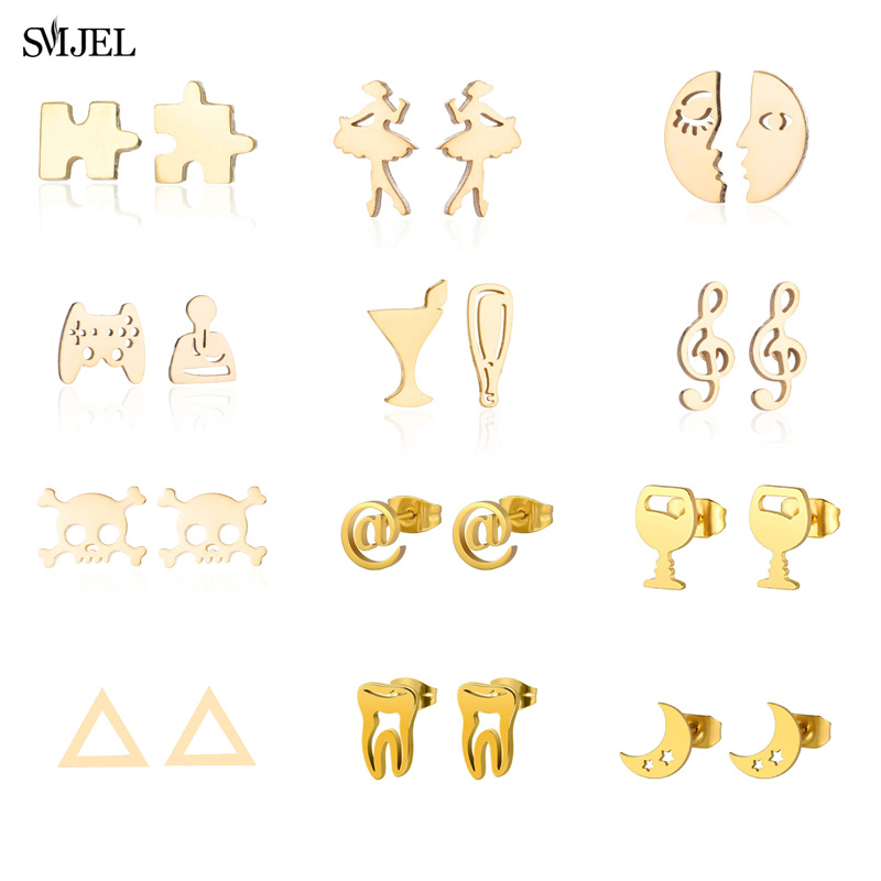 SMJEL New Fashion Gold Star Moon Earrings Simple Ear Stainless Steel  Jewelry Gift  Ballet Round Geometric Earrings For Women