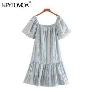 Женское винтажное мини-платье KPYTOMOA, модное винтажное платье с вышивкой, оборками на рукавах и подкладкой, 2020