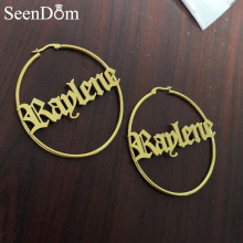 Hot Style Personalized Stainless Steel with Gold Color Earrings Handwriting Signature Custom Name Hoop Earrings (6CM) For Girls(China)