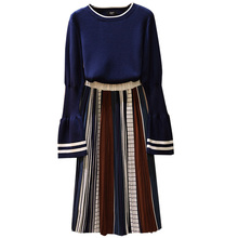 2019 Fall Big Yards Dress Sister Knitted Sweater Striped Skirts Two-Piece Outfit Clothing Set Pullover Top Leisure