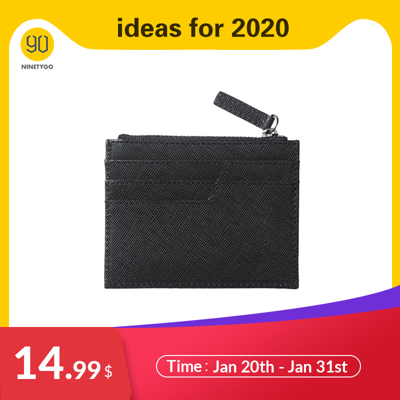 NINETYGO 90FUN Concise Business Casual Billfold Long Wallet Coin Purse Card Holder Safiano Genuine Leather For Men Boy