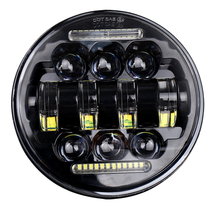 1 Piece 50W 5.75 Inch Motorcycle Modified Led Round Headlight Angel Eye Off-Road Driving Light Modified Headlight Headlights