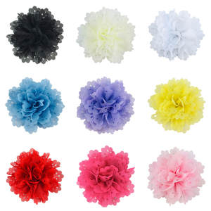 300pcs/lot 4 Inch Big New Chiffon Fabric Hollow Flower For Baby Girls Hair Accessories