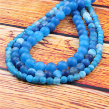 Frosted blue stripes Natural Stone Bead Round Loose Spaced Beads 15 Inch Strand 6/8/10/12mm For Jewelry Making DIY Bracelet