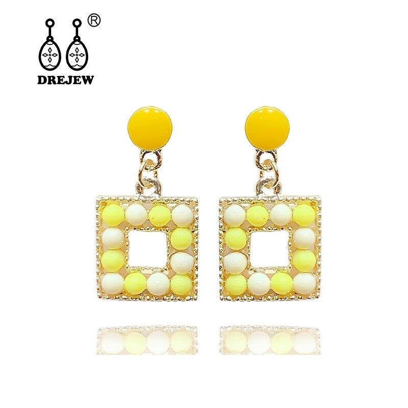 DREJEW Yellow Green Pink Purple Square Statement Earrings Sets 2019 Fashion 925 Drop for Women Wedding Jewelry HE4121