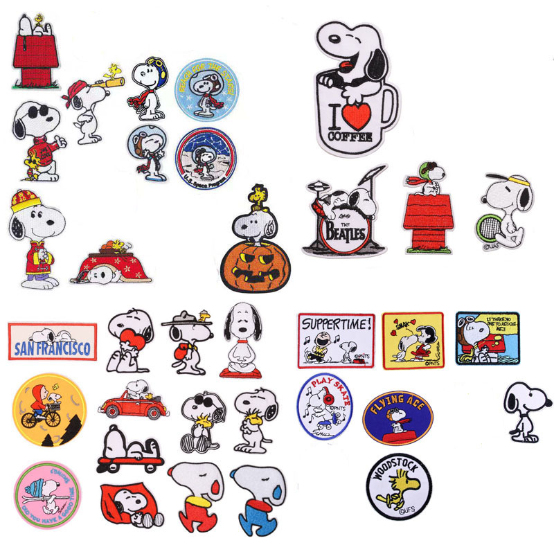 Cartoon Fashion Animal Panda Dog Embroidery Patch Cloth stickers for childrens circular clothing DIY Garment knapsackDecoration