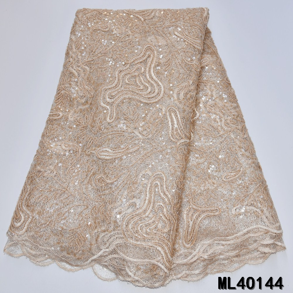 BEAUTIFICAL african lace fabrics embroidery sequins organza lace fabric Fashion gold nigerian organza fabric 5yards ML4O144